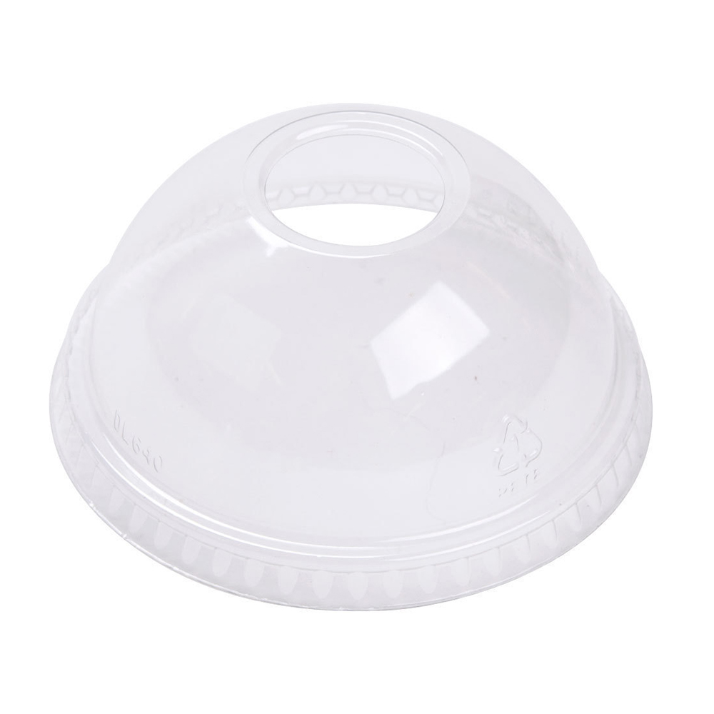 12oz Belgravia Domed Lids With Hole (For Smoothie Cups) (1000 Units)