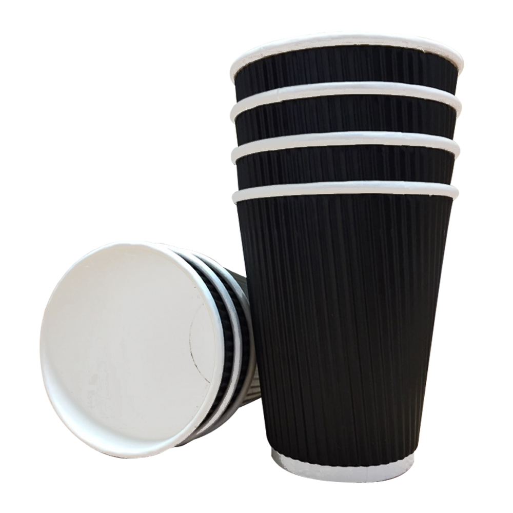16oz Belgravia Triple Walled Black Ripple Paper Cups (500 Units)