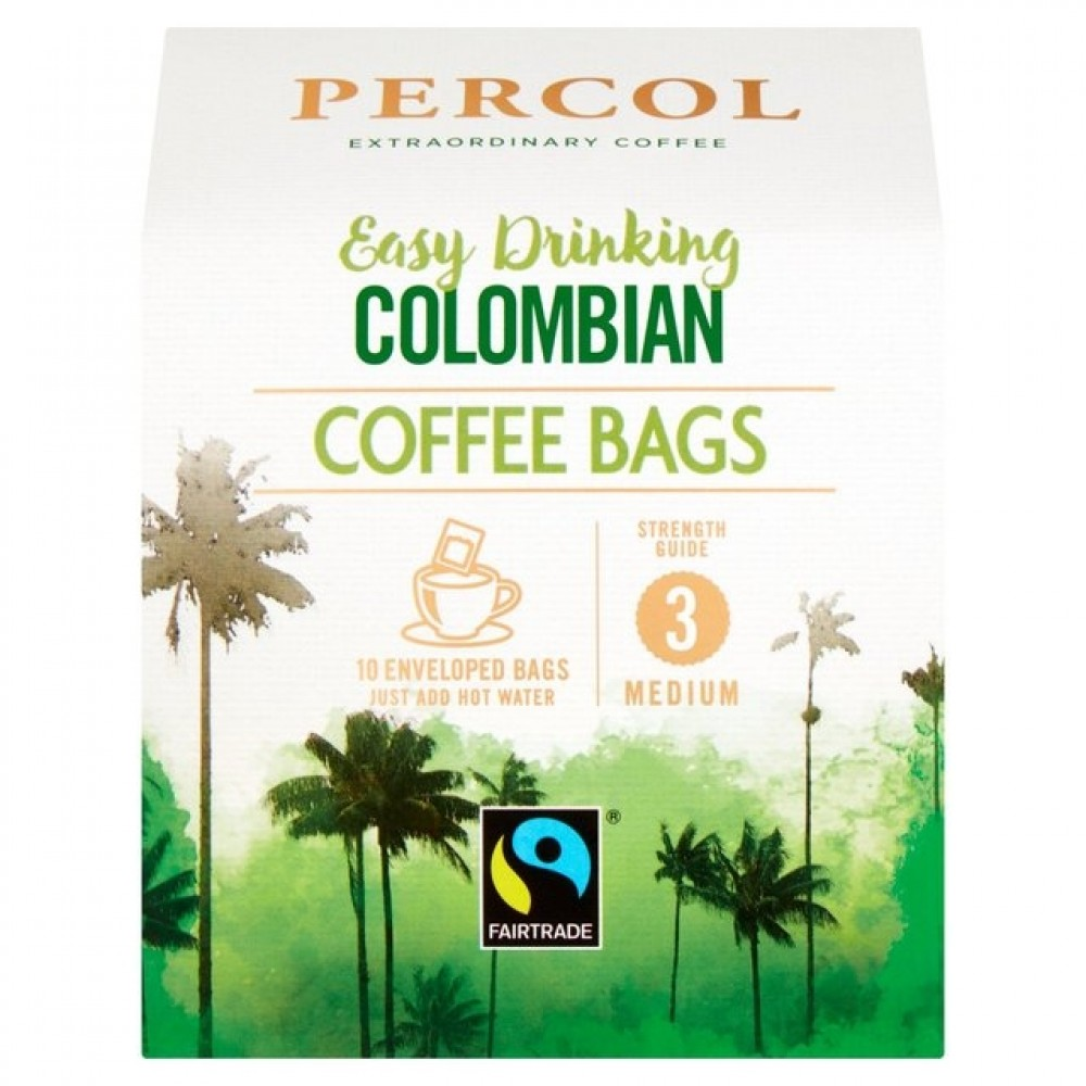 Percol Colombian Coffee Bags 8g Pack 10s (3 Units)